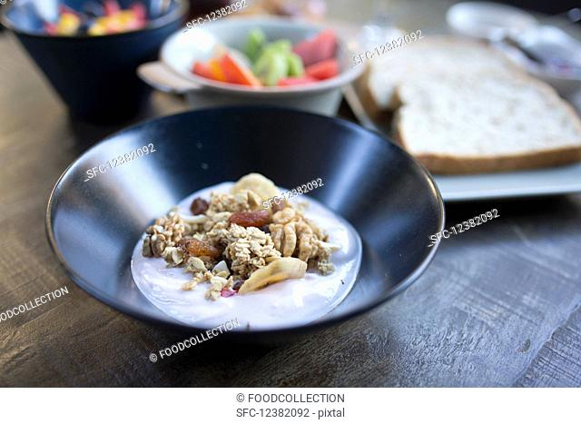 Yoghurt with dried fruits and cereal