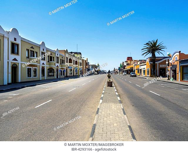 Street scene with old colonial houses in the Sam Nujoma Ave, Province Erongo, Swakopmund, Namibia
