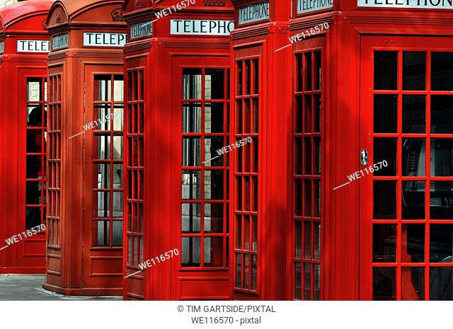 red public telephone box, London, England, UK