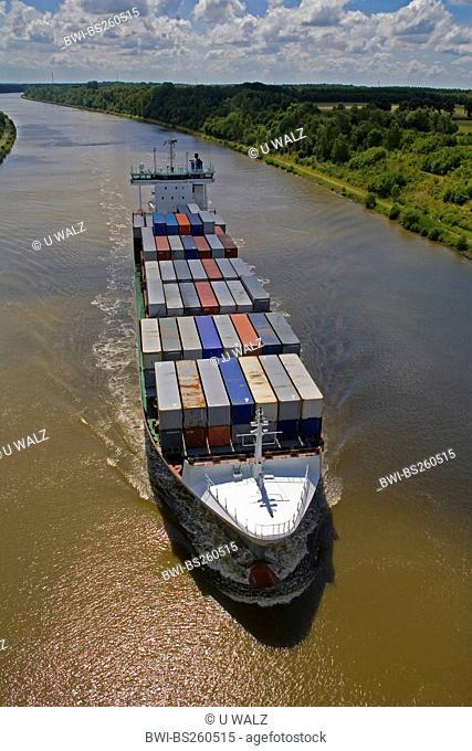 cargo ship MV Birkaland goes on the Kiel Canal, Germany, Schleswig-Holstein