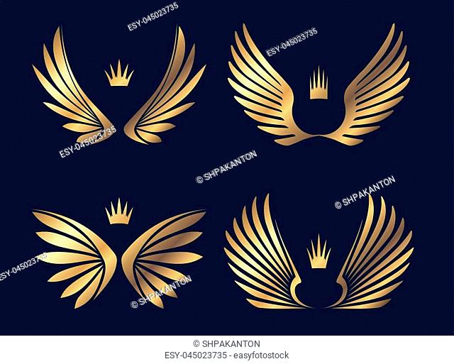 Set of four pairs of gold wings with crowns. Vector illustration