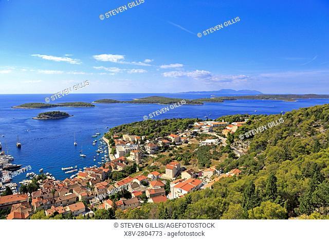 Harbour and the Pakleni Islands from the Spanish Fortress, Hvar Town, Croatia, Dalmatia, Dalmatian Coast, Europe