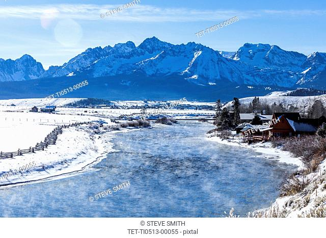 Frozen river and mountains in Stanley, Idaho