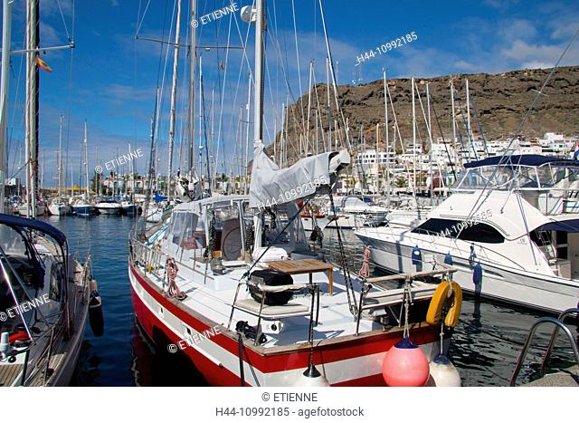Gran Canaria, Canary islands, Spain, Europe, Mogan, Puerto de Mogan, Marina, harbour, port, sail boats, holidays, tourism