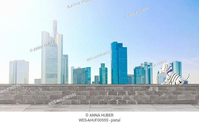Robot dog looking at skyline, 3d rendering