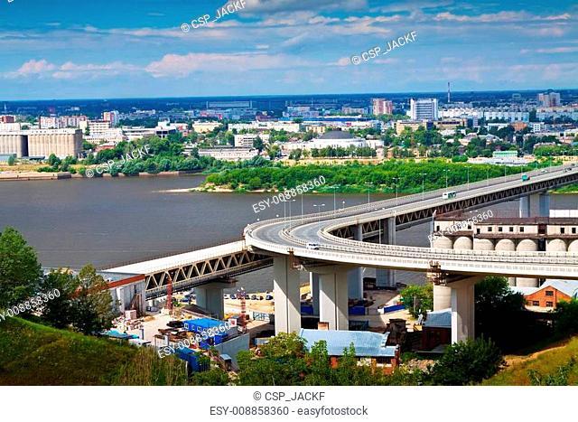 View of Nizhny Novgorod. Metro Bridge