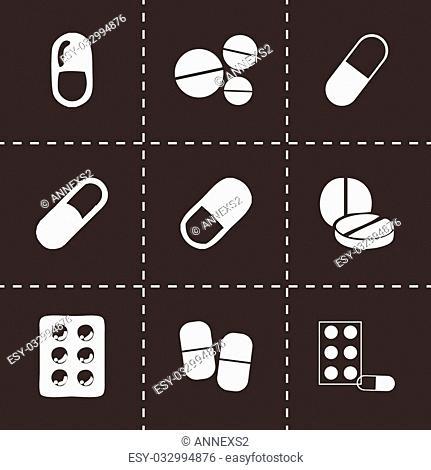 Vector black pills icons set on black background