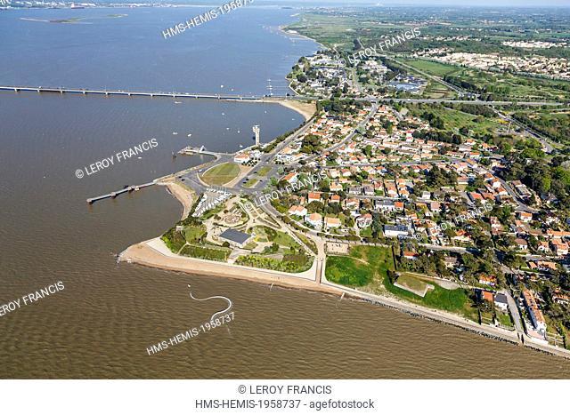 France, Loire Atlantique, Saint Brevin les Pins, Mindin, sea serpent by artist Huang Yong Ping near navy museum and Saint Nazaire bridge (aerial view)