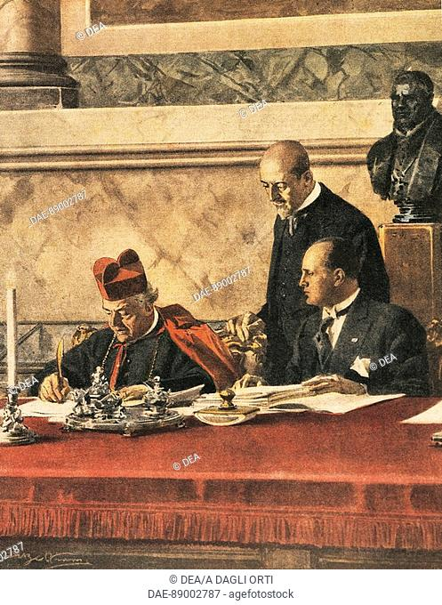 Signing of the Lateran Treaty between cardinal P. Gasparri and B. Mussolini, 1929. Drawing by Achille Beltrame (1871-1945) on the Italian weekly newspaper 'La...