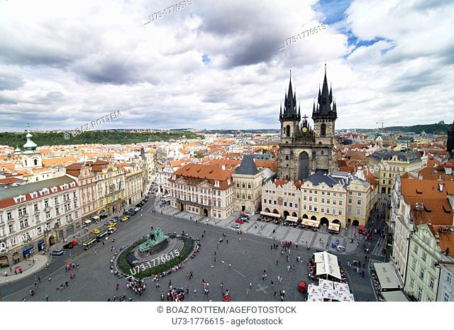 A beautiful view of Prague's old town Sq  and the Church of our lady before Tyn
