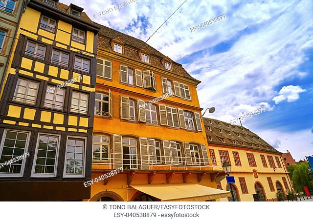 Strasbourg downtown street facades in Alsace France
