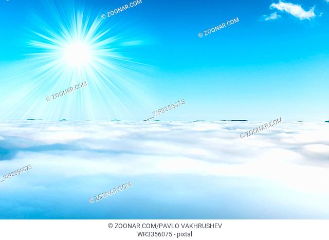 Sun and clouds on the blue sky, nature background