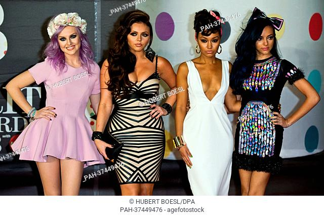 Perrie Edwards (l-r), Jesy Nelson, Leigh-Anne Pinnock and Jade Thirlwall of British popband Little Mix arrive at the Brit Awards 2013 at O2 Arena in London