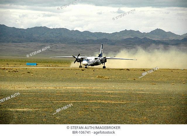 Fokker 70 propeller aircraft of Mongolian airline MIAT landing at Dalanzadgad Airport Mongolia