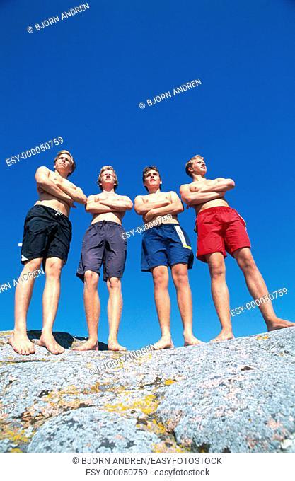 Teenage boys on the rocks