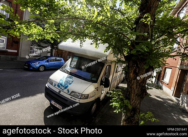 Illustration picture shows a camper van parked in the streets of Anderlecht, Brussels, as it hasn't been decided yet when people will be able to travel inside...