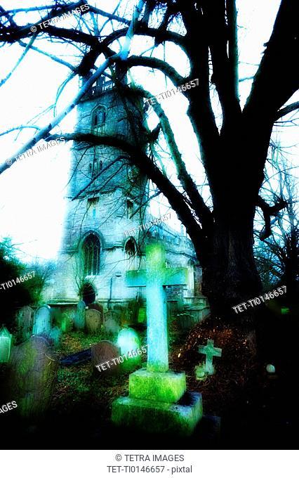 United Kingdom, Bristol, Trees and gravestones outside church
