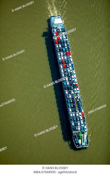 Aerial view, cargo ship on the Rhine going downhill, cargo ship with cars as cargo, inland shipping Duisburg, Ruhr area, North Rhine-Westphalia, Germany
