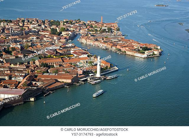 Aerial view of Murano island, Venice Lagoon, Italy, Europe