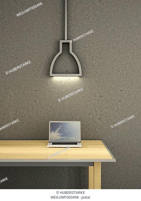 Laptop on table under lamp, 3d rendering