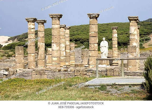 Temple of Augustus, ruins of old roman city of Baelo Claudia, Tarifa. Cadiz province, Andalucia, Spain