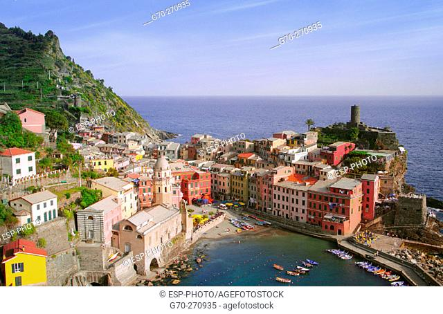 Aerial View of City and Harbor , Vernazza, Cinque Terre, Italy