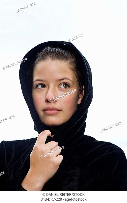 Woman with wet hair in bathrobe, Lake Starnberg, Bavaria, Germany