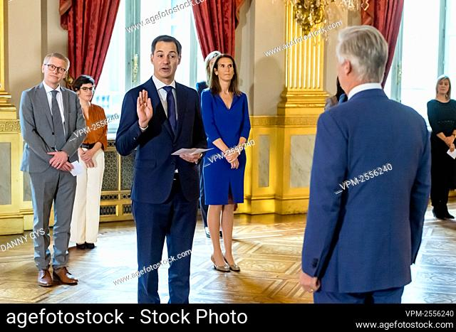 New Prime Minister Alexander De Croo (Open Vld) takes the oath before King Philippe - Filip of Belgium during the oath ceremony of the Vivaldi government