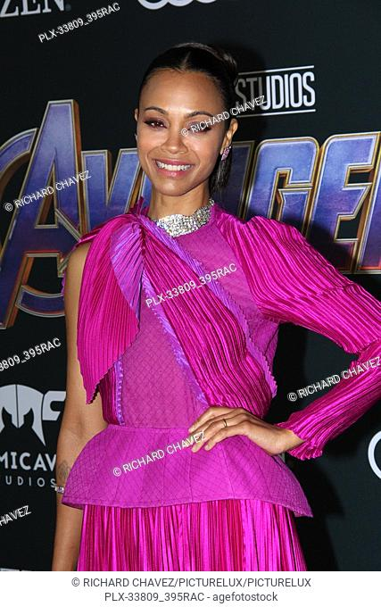 """Zoe Saldana at the Marvel Studios World Premiere of """"""""Avengers Endgame"""""""". Held at the Los Angeles Convention Center in Los Angeles, CA, April 22, 2019"""