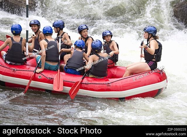 SEO DE URGELL LLEIDA CATALONIA SPAIN: Rafting along the rough river rapids. Extreme vacation in nature