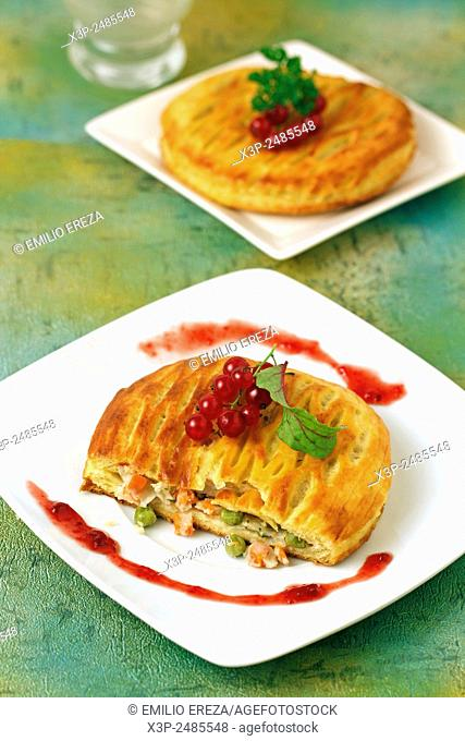Puff pastry with cheese and vegetables