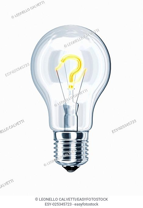 Light bulb with question mark at the place of incandescence. On white background, with clipping path