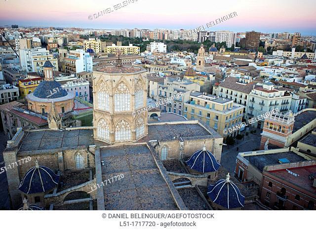 Valencia city from El Miguelete tower, Valencia, city, Valencia, Spain
