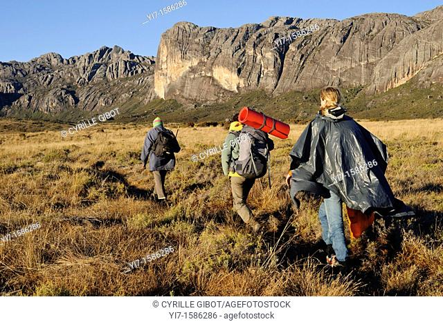 Two female trekkers and their guide walking on a plateau, Andringitra National Park, Madagascar