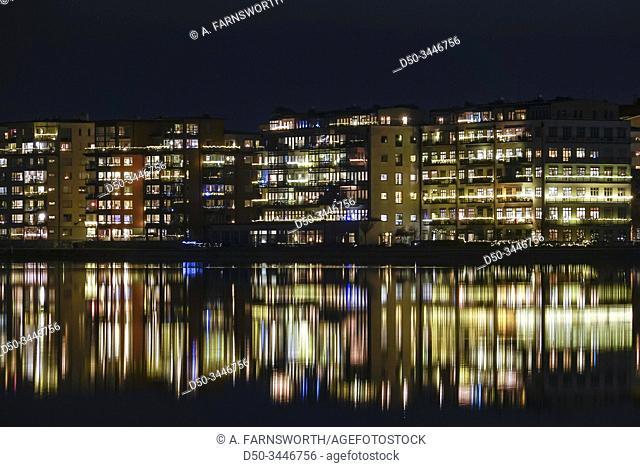 Stockholm, Sweden The island of Lilla Essingen at night