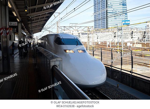30. 12. 2017, Nagoya, Japan, Asia - A Shinkansen Bullet Train pulls into Nagoya's Central station
