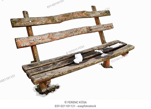 Isolated Wooden Bench with Snow