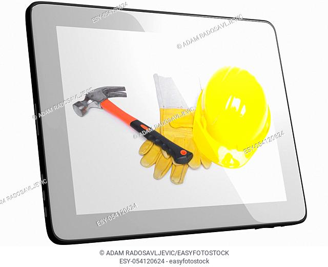 Work Tools And Equipment On Tablec Computer Screen