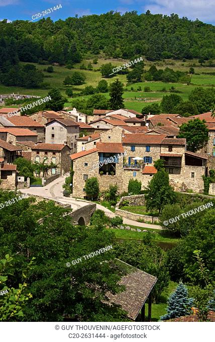 Lavaudieu, medieval village, Panorama, 43, Auvergne, Haute Loire, France