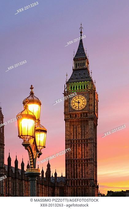 Elizabeth Tower or Big Ben at sunset, London, UK