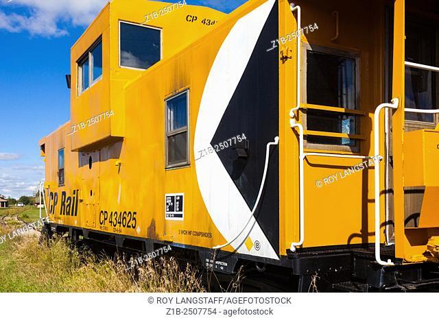 An old CP Rail Caboose in Castor, Alberta, Canada