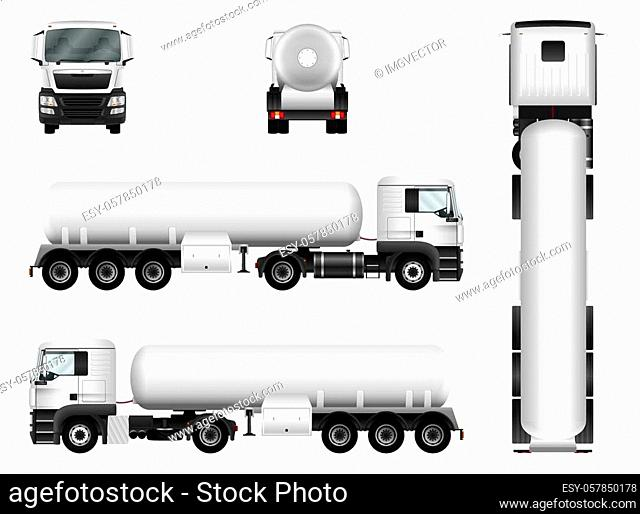 White truck whith trailer. Vector tank car template. All elements in groups on separate layers