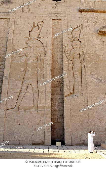 The main entrance of Horus temple in Edfu, Egypt