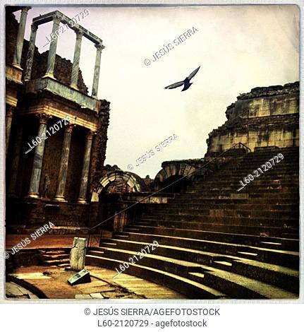 Roman theatre, Merida, Badajoz province, Extremadura, Spain