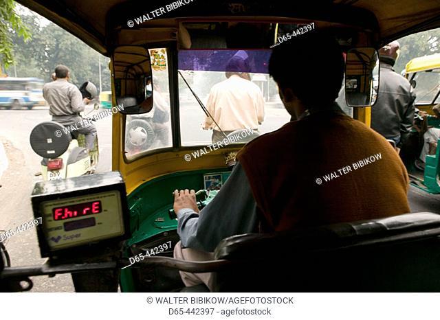 Speeding Autorickshaw from Passenger's Viewpoint. Central Delhi. Delhi. India