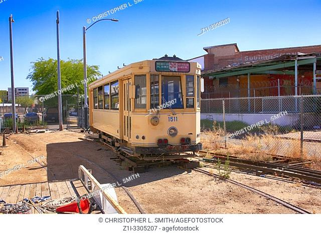 Streetcar outside the Old Pueblo Trolly Inc museum, now closed to the public in Tucson AZ