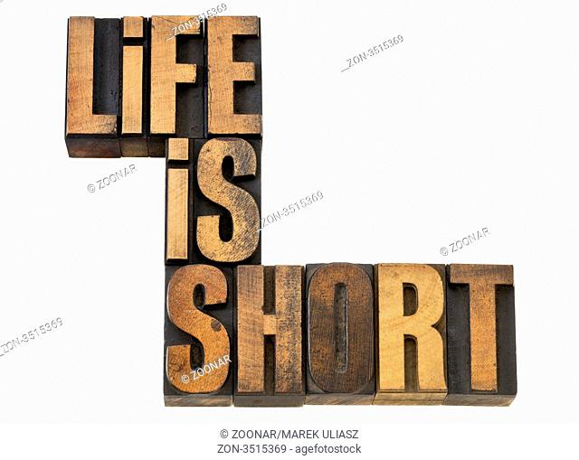 life is short phrase wisdom reminder - isolated text in vintage letterpress wood type