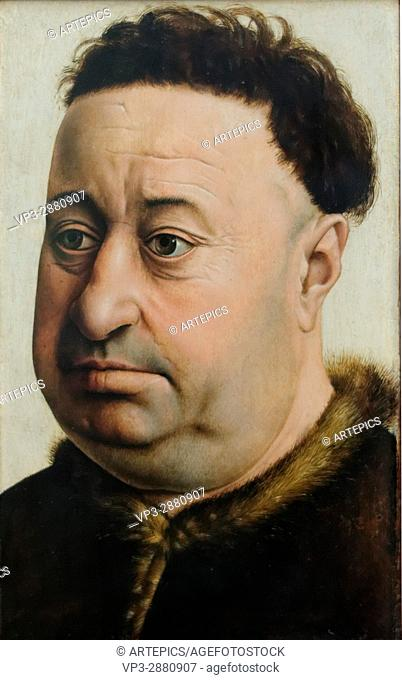 Master of Flemalle - Portrait of a plump mans - 1440 - XV th Century -Gemäldegalerie - Berlin
