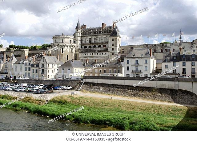 Chateau Amboise overlook the River Loire in the Loire region of France