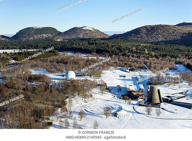 France, Puy de Dome, the Regional Natural Park of the Volcanoes of Auvergne, Chaine des Puys, Saint Ours les Roches, Vulcania (aerial view)